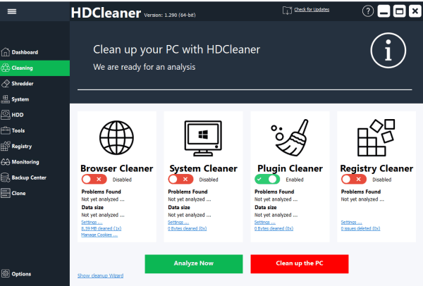 HDCleaner full screenshot
